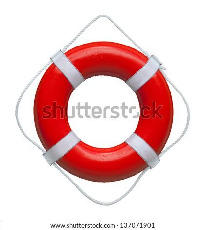 Red marine safety buoy ring isolated on white background - stock photo