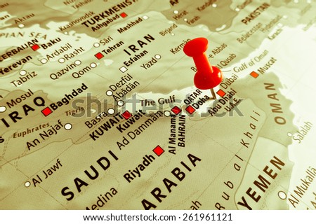 Red marker over Abu Dhabi - stock photo