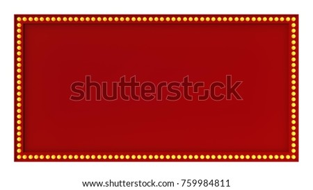 red marquee light board sign retro on white background 3d rendering - Movie Poster Frame
