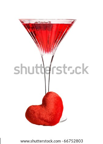 Red martini cocktail with a heart - stock photo