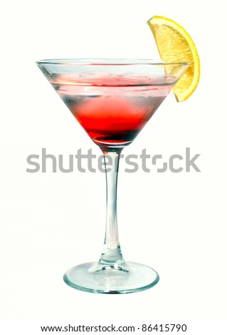 red martini cocktail with ice on white - stock photo