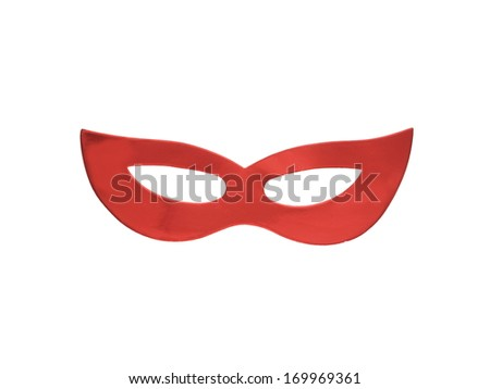 Red mask isolated on white, made from colored paper - stock photo