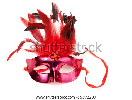Red mask with feathers on a white background - stock photo