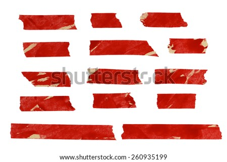 Red Masking tape isolation on white. (Clipping Path) - stock photo