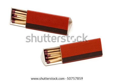 Red matchbox isolated on white