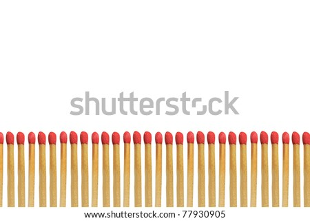 Red matchstick isolated on white background - stock photo