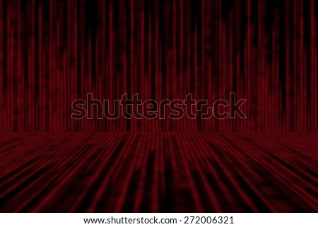 red matrix background, with motion blur, isolated on black background, perspective concept