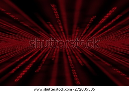 red matrix background, with motion blur, isolated on black background, perspective with radial blur - stock photo