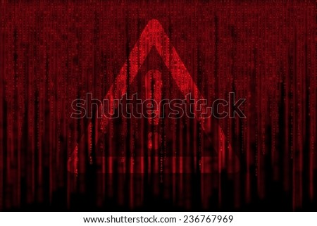 red matrix background, with motion blur, isolated on black background, with warning sign - stock photo