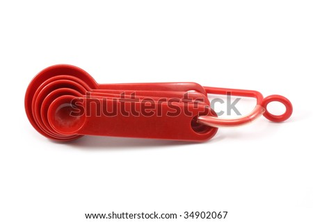Red measuring spoons
