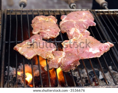 Red meat chops put on the barbecue set on fire