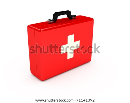 Red medical case over white background. computer generated image - stock photo