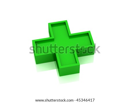Red medical cross isolated on white background. High quality 3d render. - stock photo