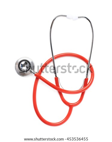 Red medical stethoscope isolated over the white background - stock photo