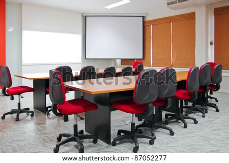 Red Meeting room. - stock photo