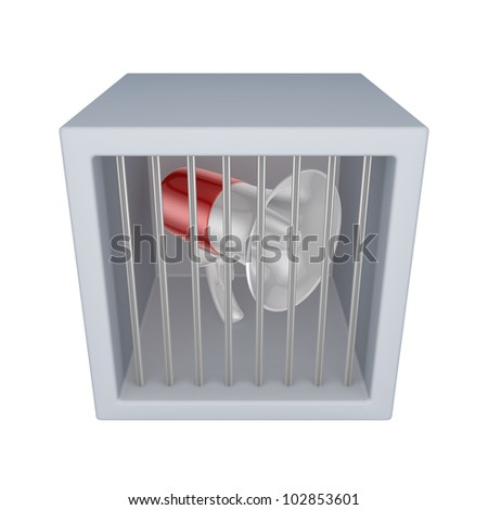 Red megaphone in a jail.Isolated on white background.3d rendered. - stock photo
