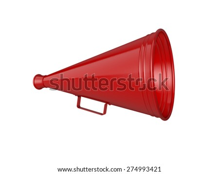 Red megaphone isolated on white background