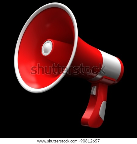 Red megaphone on a black background.