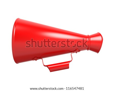 Red Megaphone or Bullhorn Isolated on White. - stock photo