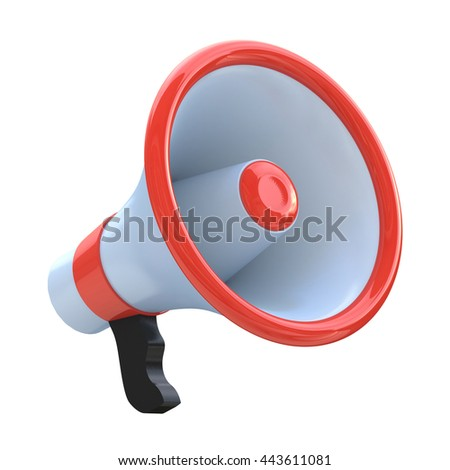Red megaphone or loudspeaker in the design of information related to communication. 3d illustration - stock photo