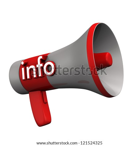"Red megaphone with text ""info"". White background. - stock photo"