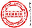 Red Member Stamp over white background - stock vector