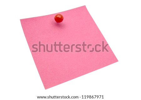 Red memo paper isolated on white background - stock photo