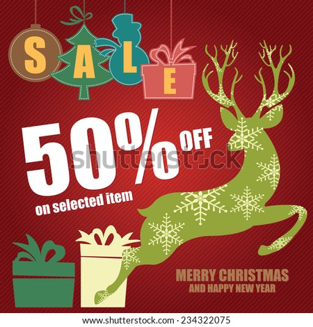 Red Merry Christmas and Happy New Year Sale Brochure, Leaflet or Banner With Colorful Sale Tag With 50% Off on Selected Item, Reindeer, Gift Box and Merry Christmas and Happy New Year Text - stock photo