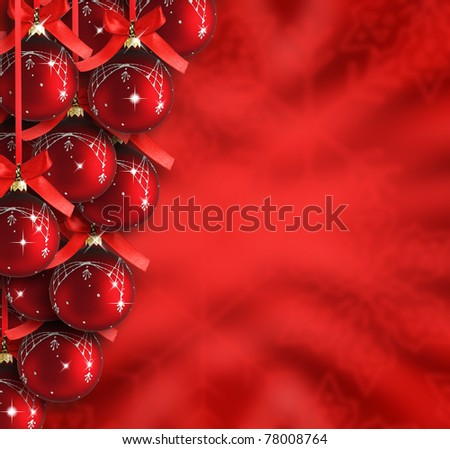 Red merry christmas background - stock photo