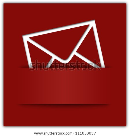 Red message applique graphic design background with copyspace - stock photo
