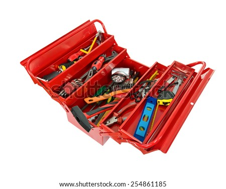 Red metal box filled with tools. isolated - stock photo