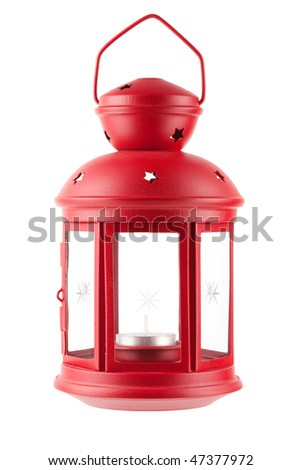 Red metal lamp with candle. Isolated on white background - stock photo