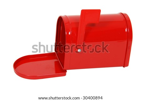 Red metal mailbox with signal flag upright and door open - path included