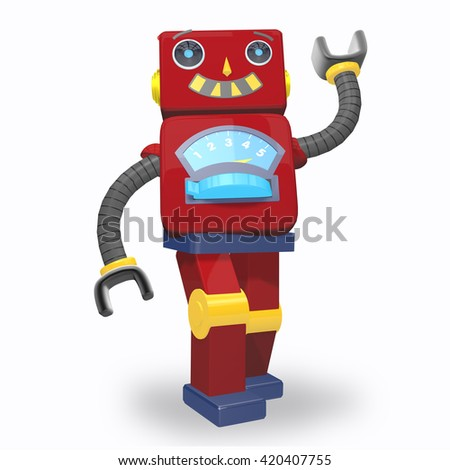 Red Metal Robot Kids Toy Character - stock photo