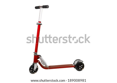 Red metal scooter isolated on white background - stock photo