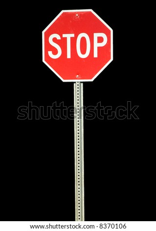 Red metal stop sign. - stock photo