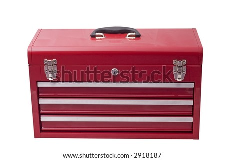 red metal tool box with three drawers and chrome latches