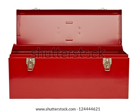 Empty Toolbox Clipart Red metal toolbox isolated in