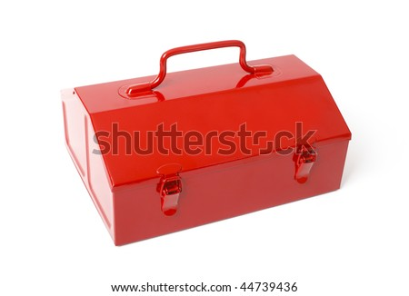 Red metal toolbox isolated on white background