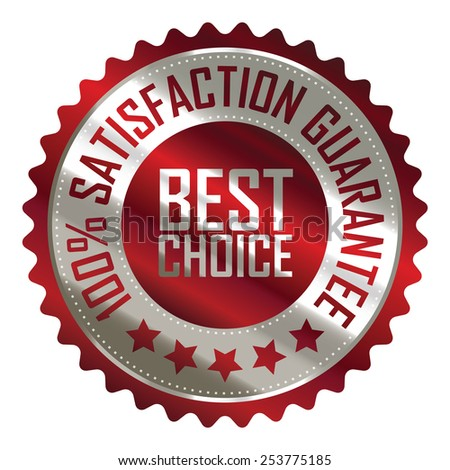red metallic best choice 100% satisfaction guarantee icon, tag, label, badge, sign, sticker isolated on white  - stock photo