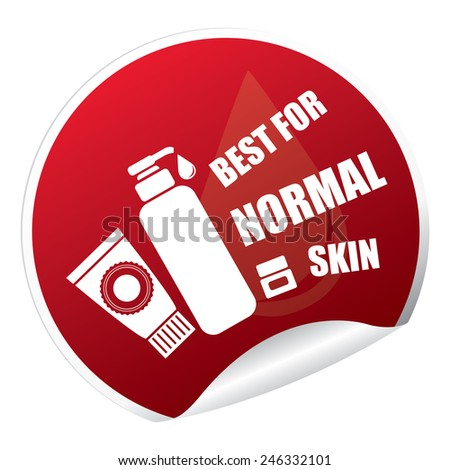 Red Metallic Best for Normal Skin Cosmetic Container Sticker, Icon or Label Isolated on White Background  - stock photo