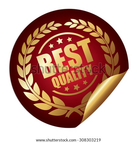 Red Metallic Best Quality Infographics Peeling Sticker, Badge, Icon, Sign or Label Isolated on White Background  - stock photo
