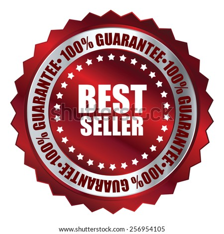 red metallic best seller 100% guarantee icon, tag, label, badge, sign, sticker isolated on white - stock photo