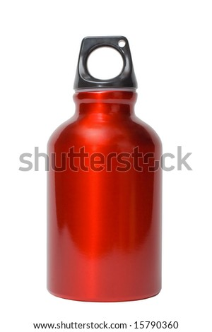 red metallic bottle (with isolation path) - stock photo