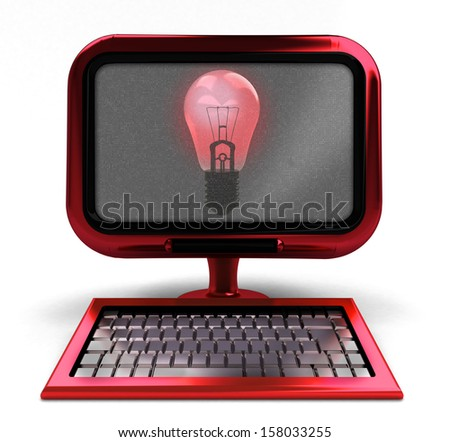 red metallic computer with shiny bulb on screen isolated illustration