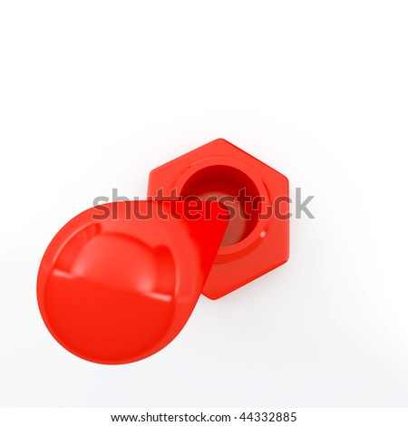 red metallic electric switch on a white background