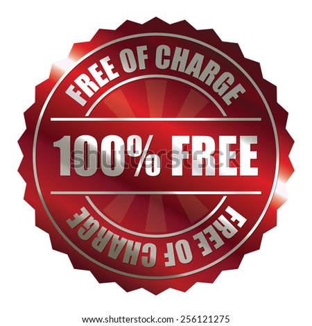 red metallic 100% free of charge badge, sticker, icon, label, sign, banner isolated on white  - stock photo