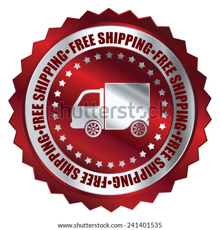 Red metallic free shipping icon, tag, label, badge, sign, sticker isolated on white  - stock photo