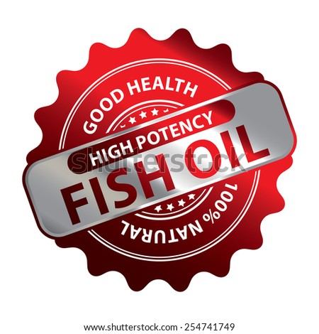 Red Metallic High Potency Fish Oil Good Health 100% Natural Icon, Label, Badge or Sticker Isolated on White Background  - stock photo