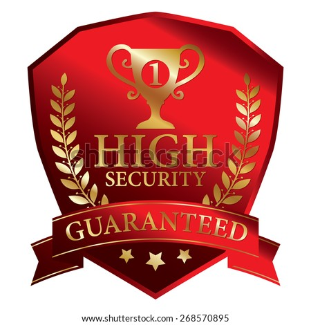 Red Metallic High Security Guaranteed Ribbon, Shield, Label, Sticker, Banner, Sign or Icon Isolated on White Background - stock photo